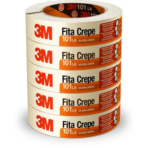 Fita Adesiva Crepe 24 X 50 M 101la | 5 Rolos - 3m