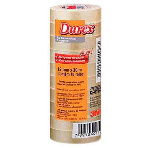 Fita Adesiva Transparente Durex 3M 12mmx30m Embalagem com 10 Rolos