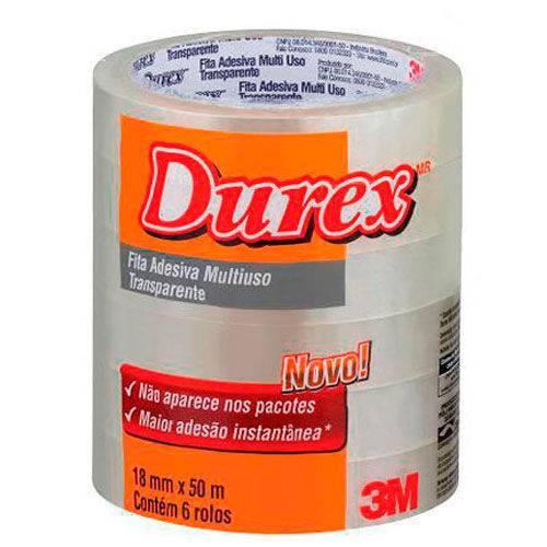 Fita Adesiva Transparente Durex 3M Pacote com 6 Rolos