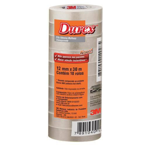 Fita Adesixa Durex Transparente 12 X 30 M | 10 Rolos - 3m