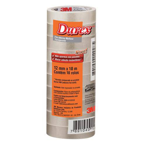 Fita Adesixa Durex Transparente 12 X 10 M | 10 Rolos - 3m