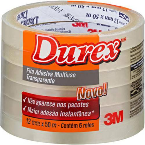 Fita Adesixa Durex Transparente 12 X 50 M | 6 Rolos - 3m