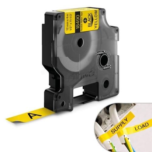 Fita Amarela Nylon 12mm X 3.5m para Rotulador Profissional Rhinopro Dymo