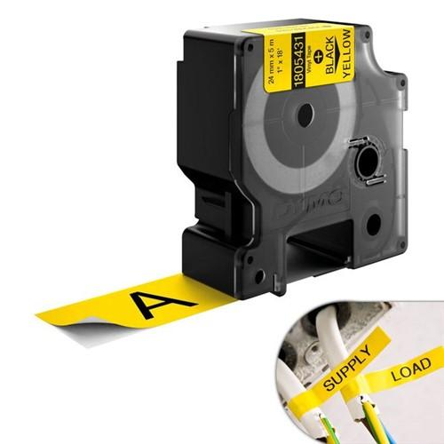 Fita Amarela Vinilica/PVC 24mm X 5.5m para Rotulador Profissional Rhinopro Dymo