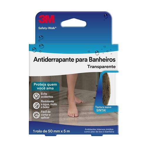 Fita Antiderrapante Safety Walk 3m para Banheiro Transparente Rolo 50mm X 5m 1 Unidade