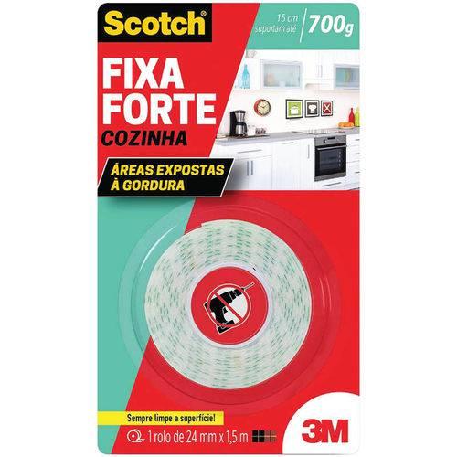Fita Dupla Face Fixa Forte Cozinha 24mm X1,5m 3m