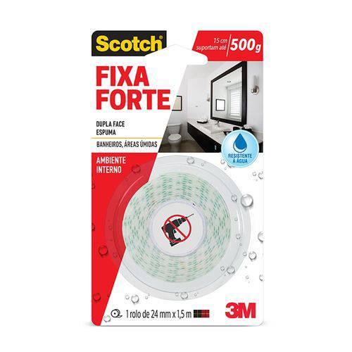 Fita Dupla Face Scotch Fixa Forte P/ Banheiro 24mm X 1,5m 3m