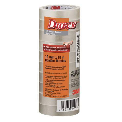 Fita Durex 12x10m Transparente 3m 10 Rolos
