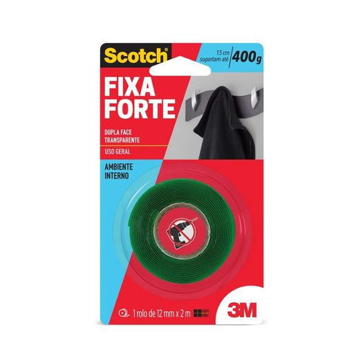 Fita Fixa Forte Adesiva Transp Dupla Face 12mmx2m 3m Blister