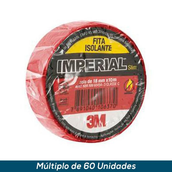 Fita Isolante 3M Imperial Vermelho 18mmx10mts