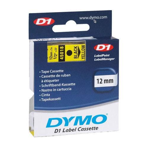 Fita para Rotulador D1 Label Cassette, Autoadesiva, Poliester, 12mm X 7m, Preto/amarelo 45018 - Dymo