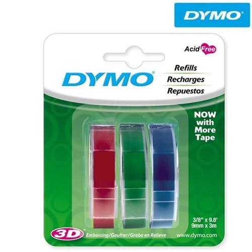 Fita para Rotulador Manual, Blister com 3 (9mm X 3m) Azul, Vermelha, Verde 1741671 - Dymo