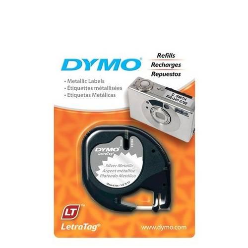 Fita Poliéster Dymo Auto-Adesiva P/ Rotulador Eletrônico Letratag (12mm X 4 Mts) - Preto/ Prata - Có