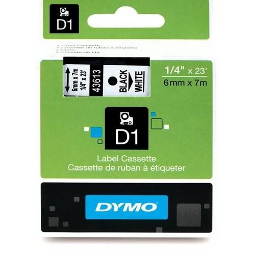 Fita Poliéster Dymo Auto-Adesiva P/ Rotulador Eletrônico Profissional (6mm X 7 Mts) - Preto/ Branco