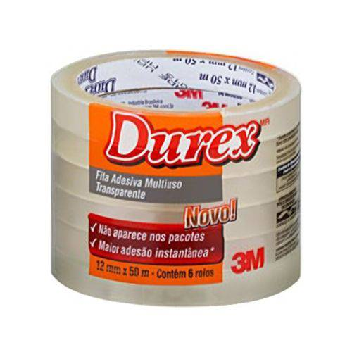 Fita Transparente Durex 3M Pacote com 6 Rolos