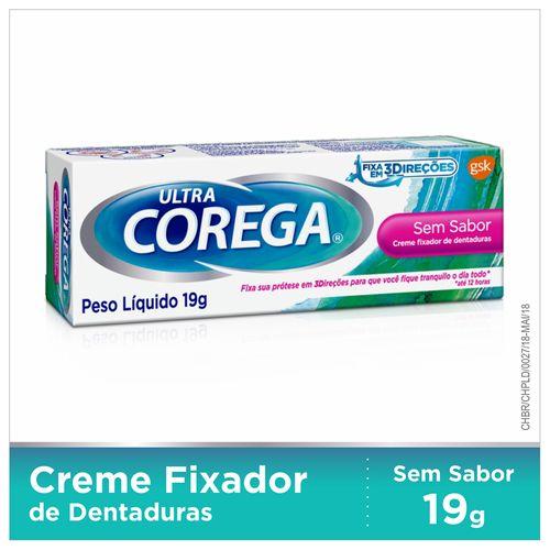Fixador de Dentadura Ultra Corega Creme Sem Sabor 19g