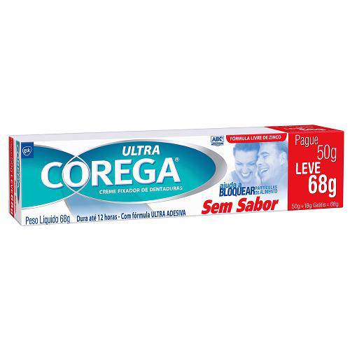 Fixador de Dentadura Ultra Corega Creme Sem Sabor 50g
