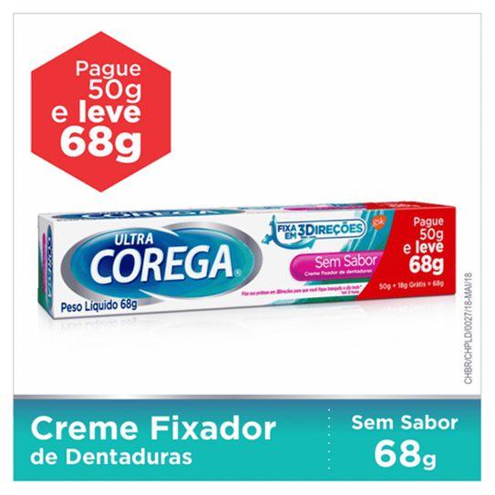 Fixdor de Dentadura Corega Ultra Sem Sabor Creme Leve 68 Pague 50g