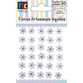 Flores Artesanais Aquiléia Branco Coleção Algodão Doce com 30 Unidades Ref.17752-FLOR138 Toke e Crie