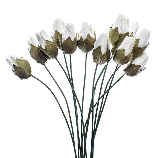 Flores Artesanais Botões Toke e Crie Flor174 Branco Coleção Delicada