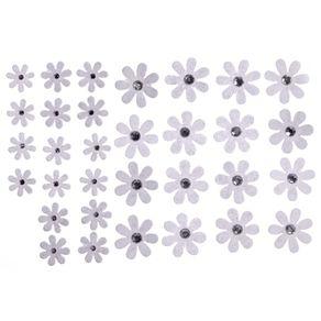 Flores Artesanais Margaridas Branco Coleção Algodão Doce com 32 Unidades Ref.17758-FLOR144 Toke e Crie