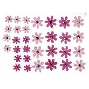 Flores Artesanais Margaridas Rosa Coleção Algodão Doce com 32 Unidades Ref.17759-FLOR145 Toke e Crie