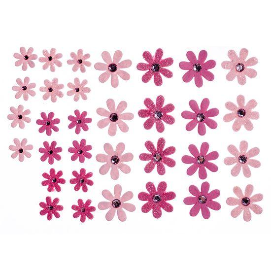 Flores Artesanais Margaridas Rosas Coleção Algodão Doce FLOR145 - Toke e Crie