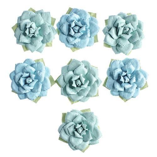 Flores Artesanais Rosas Azuis Coleção Algodão Doce Flor155 - Toke e Crie