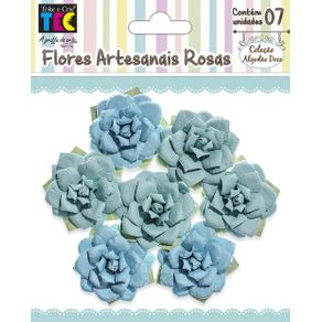 Flores Artesanais Rosas Azul Coleção Algodão Doce com 7 Unidades Ref.17769-FLOR155 Toke e Crie