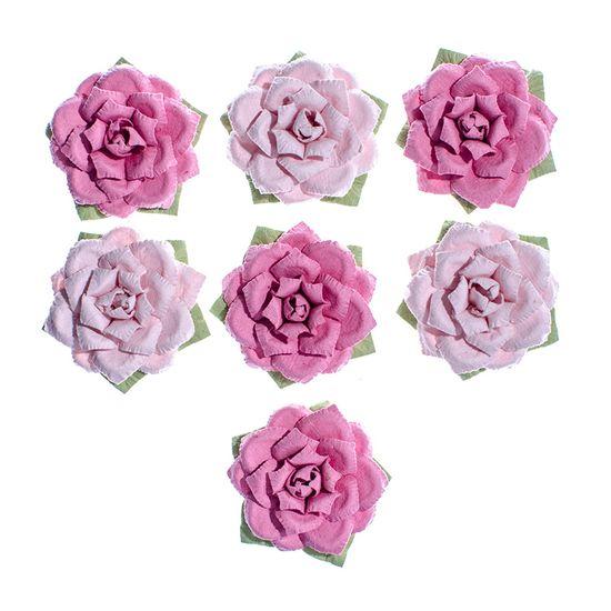 Flores Artesanais Rosas Cor Rosa Coleção Algodão Doce FLOR154 - Toke e Crie