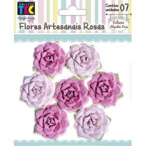 Flores Artesanais Rosas Rosa Coleção Algodão Doce com 7 Unidades Ref.17771-FLOR157 Toke e Crie