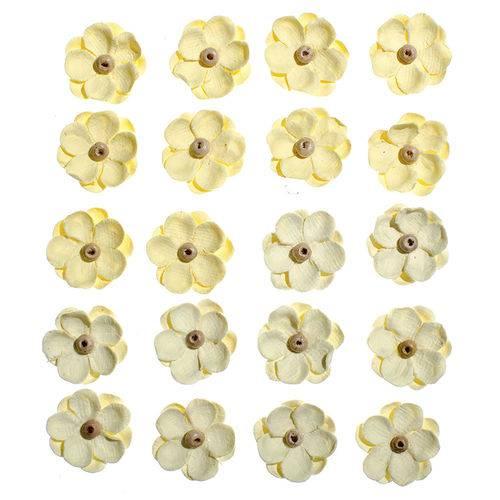 Flores Artesanais Sininhos Amarelo Coleção Algodão Doce Flor130 - Toke e Crie