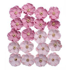 Flores Artesanais Sininhos Rosa Coleção Algodão Doce com 20 Unidades Ref.17745-FLOR133 Toke e Crie