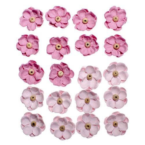 Flores Artesanais Sininhos Rosa Coleção Algodão Doce Flor133 - Toke e Crie