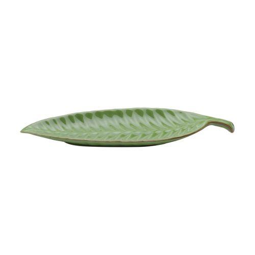 Folha Decorativa em Cerâmica Verde 36x10x3cm