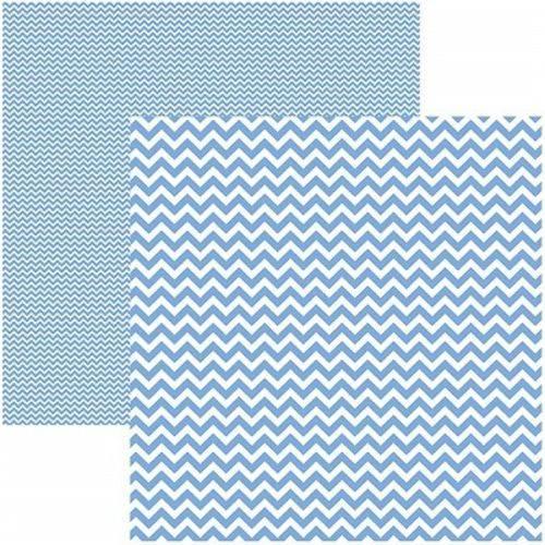 Folha P/ Scrap Basico Chevron Azul Serenity By Mariceli - Dupla Face KFSB425 19966