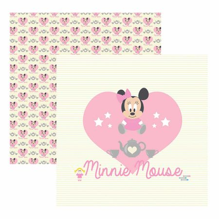 Folha para Scrapbook Dupla Face Disney - Baby Minnie Guirlanda