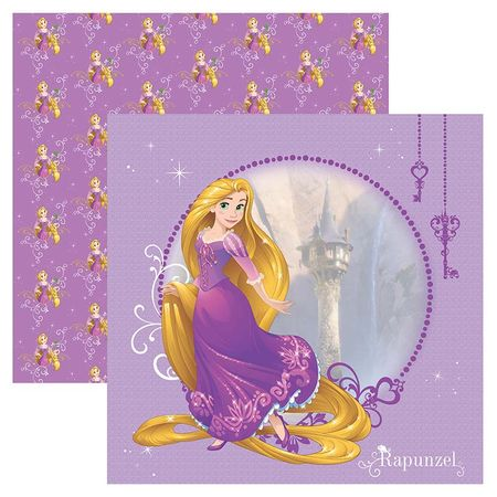 Folha para Scrapbook Dupla Face Disney - Rapunzel Guirlanda