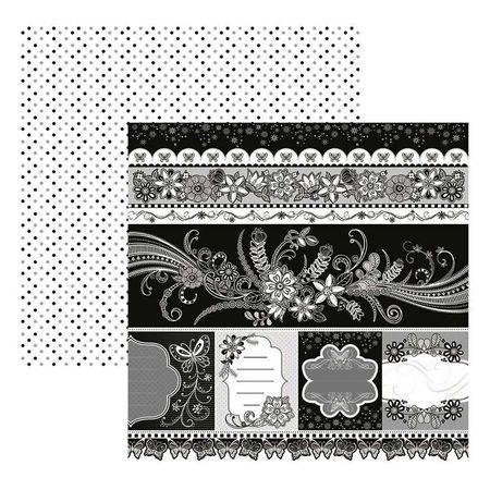 Folha para Scrapbook Dupla Face - Floral PB Barrinhas e Tags