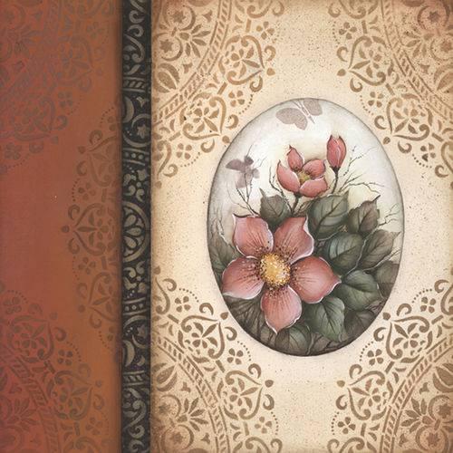 Folha para Scrapbook Estampado Litocart 30,5 X 30,5 Cm - Modelo Lsce-38 - Arabesco e Flores