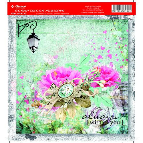 Folha para Scrapbook Litocart Pequena 16,5 X 16,5 Cm – Modelo Lscp-12 - Vintage Always With You