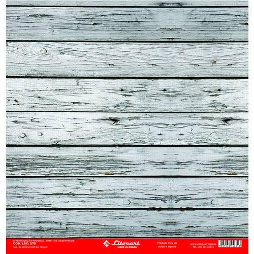 Folha para Scrapbook Simples Litocart 30,5 X 30,5 Cm - Modelo Lsc-279 - Madeira Ripada Clara