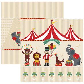 Folha Scrap Festa Dupla Face Circo Vintage Cenário e Bandeirolas Ref.17899-SDF644 Toke e Crie