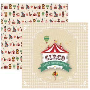 Folha Scrap Festa Dupla Face Circo Vintage Guirlanda Ref.17898-SDF643 Toke e Crie