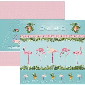 Folha Scrap Festa Dupla Face Flamingos Cenários e Bandeirolas Ref.20229-SDF748 Toke e Crie