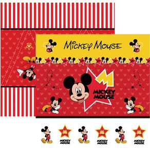 Folha Scrap Festa Dupla Face Mickey Mouse 1 Cenário e Bandeirolas Ref.19306-SDFD012 Toke e Crie