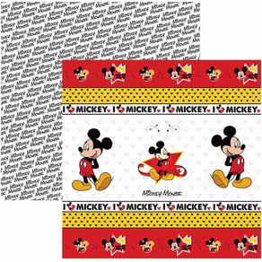 Folha Scrap Festa Dupla Face Mickey Mouse 1 Fitas e Rótulos Ref.19307-SDFD013 Toke e Crie
