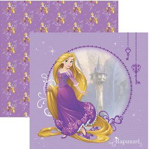 Folha Scrap Festa Dupla Face Rapunzel Guirlandas Ref.20718-SDFD147 Toke e Crie