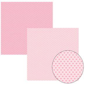 Folha Scrapbook Básico Rosa Bebê Coração Ref.11612-KFSB158 Toke e Crie