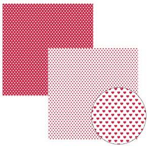 Folha Scrapbook Básico Vermelho FB Coração Ref.11608-KFSB154 Toke e Crie